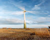 Wind turbine in a field in Somerton supplying renewable energy
