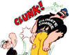 Popeye clunks Bluto dressed as climate change