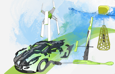 An illustration of some of our Ecotricity projects; The Nemesis, Urbine, Snapper and Greenbird