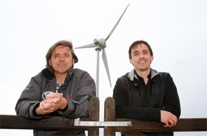 Dale Vince and Gary Neville in front of one of our turbines