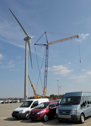 Third Ecotricity wind turbine at Ford's Dagenham plant