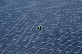 Man surrounded by solar panels