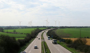 Artist's impression of the nine Dalby turbines at the roadside