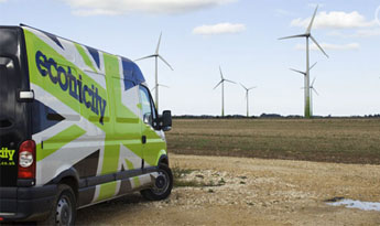 Our Fen Farm wind park next to an Ecotricity van