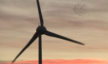 Our Mablethorpe turbine at sunset