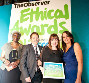 The Dartford team winning the Observer Ethical Award for sport in 2012